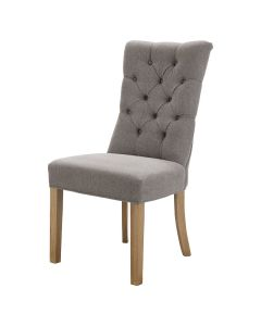 """""""Henry"""" Hamptons Style Fabric Dining Chair Buttoned Back Linen Silver, 50cm x 45cm x 103cmH"""
