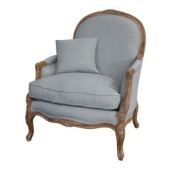 """FLOORSTOCK CLEARANCE SALE """"Elena"""" Occasional French Hampton Style Linen Armchair Duck Egg Blue (RRP $1699)"""