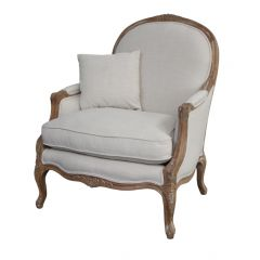 """FLOORSTOCK CLEARANCE SALE """"Elena"""" Occasional French Hampton Style Linen Armchair Natural Linen (RRP $1699)"""
