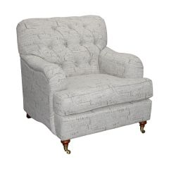 """Florence"" Hamptons Style Chesterfield Linen Fabric Arm Chair, French Script Design"