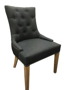 """Madison"" Hampton Style French Provincial Linen Buttoned Dining Chair Black with Studs, 56cm x 53cm x 94cmH"