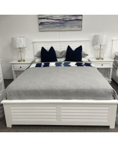 """Whitehaven"" Hamptons Shutter Style Timber Queen Bed in White, 215cmL x 167cmD x 120cmH"