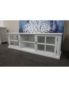SECONDS SALE Sommersby TV Unit Glass Display Doors, 180x45x55cm,  White (RRP $1299) BOOK A VIRTUAL TOUR