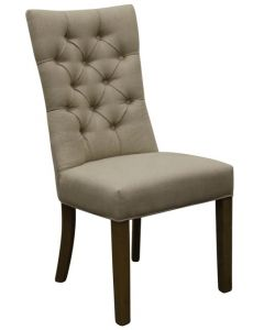 """Henry"" Hamptons Style Dining Chair Fabric Buttoned Back Linen Natural, 50cm x 45cm x 103cmH"