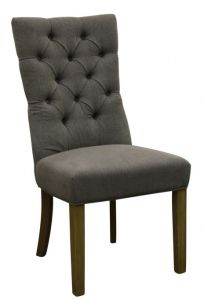 """Henry"" Hamptons Style Fabric Dining Chair Buttoned Back Linen Silver, 50cm x 45cm x 103cmH"