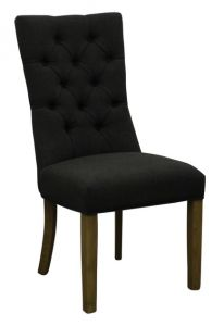 """""""Henry"""" Hamptons Style Dining Chair Fabric Buttoned Back Linen Charcoal, 56cmL x 51cmD x 90cmH"""
