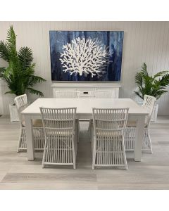 """""""Cove"""" Coastal Style 7 Piece Dining Package 180x100cm Hardwood Timber Dining Table + 6 Villa Chairs"""