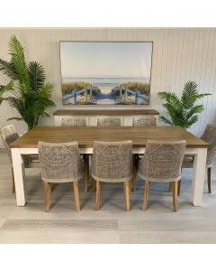 """""""Jefferson"""" Hamptons Style 9 Piece Dining Package 225x105cm Hardwood Timber Dining Table + 8 Avoca Teak Chairs"""