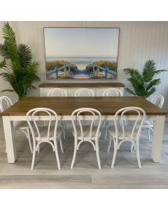 """""""Jefferson"""" Hamptons Style 9 Piece Dining Package 225x105cm Hardwood Timber Dining Table + 8 Bentwood White Chairs"""