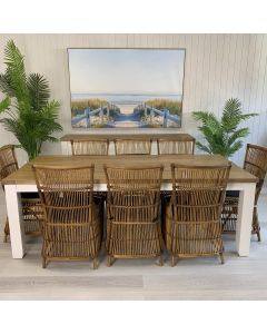 """""""Jefferson"""" Hamptons Style 9 Piece Dining Package 225x105cm Hardwood Timber Dining Table + 8 Byron Natural Chairs"""