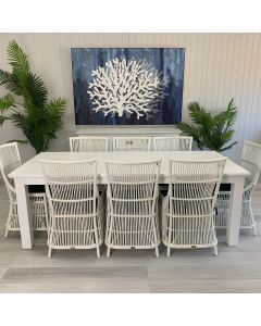 """""""Cove"""" Coastal Style 9 Piece Dining Package 220x100cm Hardwood Timber Dining Table + 8 Byron Chairs"""