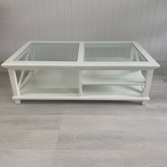 """SECONDS SALE """"Emily"""" Hamptons Style Timber Rectangle Glass Top Coffee Table White, 140cmL x 80cmD x 45cmH (RRP $1199)"""