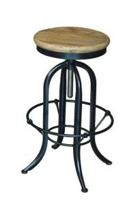 """""""Industrial"""" Black Metal and Timber Adjustable Screw Kitchen Counter Barstool"""
