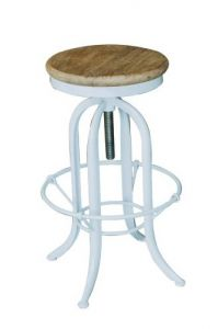 """""""Industrial"""" White Metal and Timber Adjustable Screw Kitchen Counter Barstool"""