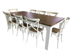 """Jefferson"" 9 Piece Solid Timber Dining Table with 8 Cross Back Chairs Package Vivid White Hampton Coastal Style"