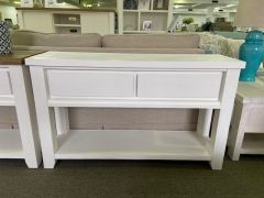 """Jefferson"" Two Tone 130cm Solid Timber 2 Drawer Hampton Coastal Style Hall Table Console Brushed White"