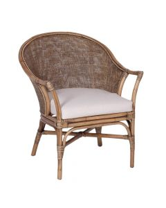 """Long Island"" Hampton Style Rattan Chair in Honey Brown, 69cmW x 71cmD x 83cmH"