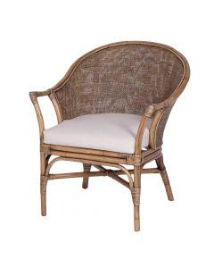 """Long Island"" Hampton Style Rattan Chair in Honey Brown, 69cmW x 71cmD x 83cmH"