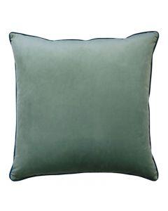 Clifton Hampton Style Seafoam Velvet Piped Cushion 55cm