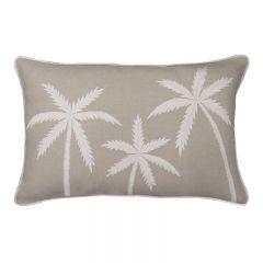 Kerala Hampton Style Linen Embroidered Palm Cushion 40X60cm