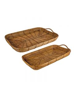 Bermuda Hamptons Style Rattan Bamboo Trays (Set of 2)