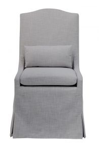 """Somerset"" Hamptons Style Loose Cover Fabric Dining Chair with Cushions Glacier, 58cmL x 70cmD x 107cmH"