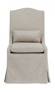 """Somerset"" Hamptons Style Loose Cover Fabric Dining Chair with Cushions Khaki, 58cmL x 70cmD x 107cmH"
