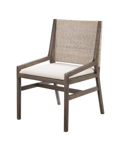 """""""Maldives"""" Resort Style Rattan Dining Occasional Chair Weave & Brown Timber Leg, 56cm x 56cm x 90cmH"""