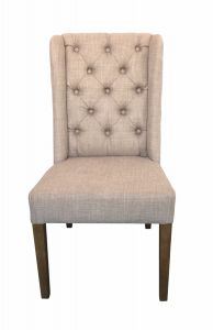 """Esther"" Hampton French Provincial Linen Buttoned Dining Chair Taupe"