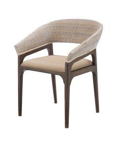 """Mauritius"" Resort Style Rattan Dining Chair, Grey Wash Weave & Brown Timber Leg, 60cm x 65cm x 82cmH"