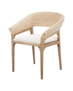 """Mauritius"" Resort Style Rattan Dining Chair, Whitewash Weave & Teak Timber Leg, 60cm x 65cm x 82cmH"