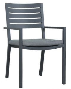 """Mayfair"" Outdoor Gunmetal Grey Aluminium Dining Chair with cushion 55cmW x 58cmD x 87cmH"