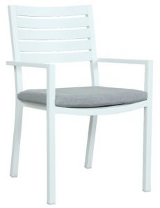 """Mayfair"" Outdoor White Aluminium Dining Chair with cushion 55cmW x 58cmD x 87cmH"