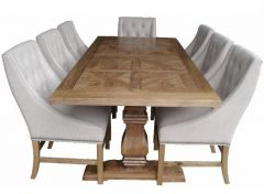 """Monaco"" Hampton Style Pedestal Recycled Elm Timber Dining Table Natural 245cmW x 105cmD  x 77cmH"