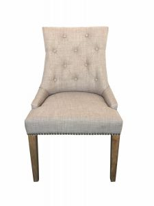 """Madeleine"" Hampton Style French Provincial Linen Buttoned Dining Chair Taupe"