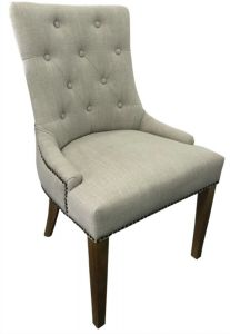 """Madison"" Hampton Style French Provincial Linen Buttoned Dining Chair Cream Beige, 56cm x 53cm x 94cmH"