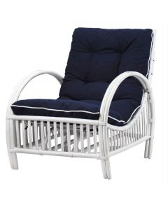 """""""Long Island"""" Hamptons Style Lounge Chair in White with Navy cushions with White piping"""