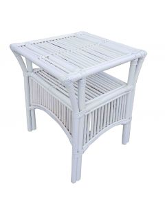 """""""Long Island"""" Hamptons Style Rattan Side Table with Glass Top in White, 51cm x 51cm x 61cmH"""