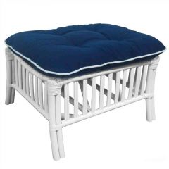 """Hampton"" Lounge Foot Stool in White with Navy Blue (White Piping) Covers"
