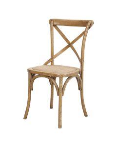 """""""Noosaville"""" Hamptons Timber Dining Chair Cross Back Natural Oak, 50cmL x 48cmD x 88cmH"""