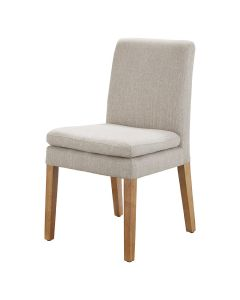 """Oscar"" Linen Fabric Upholstered Padded Dining Chair Beige, 48cm x 50cm x 89cmH"