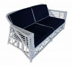 """Long Island"" Hamptons Style 2.5 Seater Rattan Alfresco Lounge in White with Navy Blue cushions"