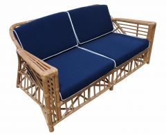 """Long Island"" Hamptons Style 2.5 Seater Rattan Alfresco Lounge in Honey with Navy Blue cushions"