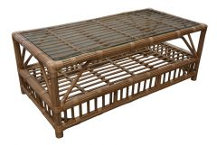 """Long Island"" Natural Rattan Coffee Table in Honey with Glass Top, 120x60xH60cm"