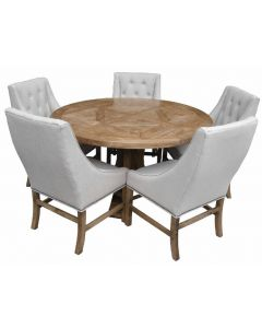 Monaco Round Elm Parquetry Top Dining Table Natural with Pedestal Base 140cm