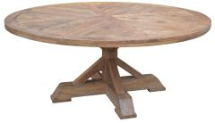 """Atticus"" Solid Timber Parquetry 180cm Round Dining Table with Pedestal Base in American Oak"