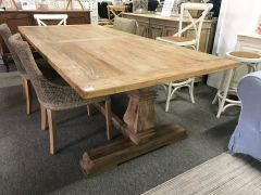 """Madrid"" Hamptons Style Timber Dining Table with Pedestal Base Recycled Elm, 300cmL x 110cmD x 76cmH"