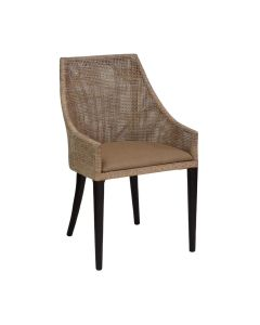 """Coral Bay"" Hampton Style Rattan Dining Chair Greywash with Black Legs"