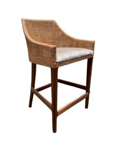 """Avoca"" Hampton Style Rattan Kitchen Barstool Natural with Timber Legs"