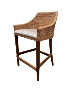 """""""Coral Bay"""" Hampton Style Rattan Kitchen Barstool Natural with Timber Legs"""